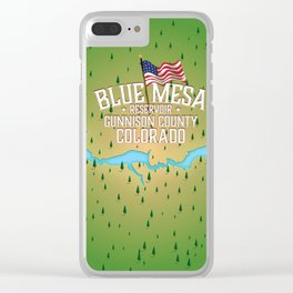 Blue Mesa Reservoir map travel poster. Clear iPhone Case