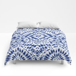 Indigo Blue Tie Dye Textile Pattern Comforters