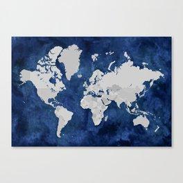 Dark blue watercolor and grey world map Canvas Print