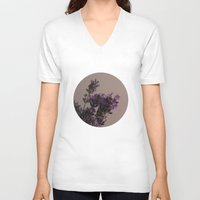 lavender V-neck T-shirts featuring Lavender by tinaperko