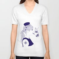 nautical V-neck T-shirts featuring Nautical by Nathalie Otter
