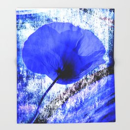 Blue Poppy vintage 222 Throw Blanket