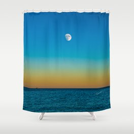 Moon Rising Over Chicago's North Shore Shower Curtain