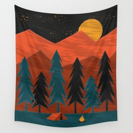 Camping Under a Harvest Moon Wall Tapestry