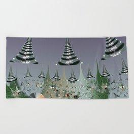 An abstract Christmas tree dream Beach Towel