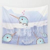 narwhal Wall Tapestries featuring Narwhal Love by Kaz Palladino & Awkward Affections