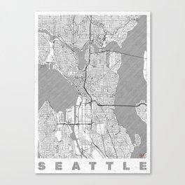 Seattle Map Line Canvas Print