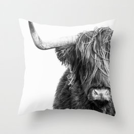 Highland Cow Portrait - Black and White Throw Pillow