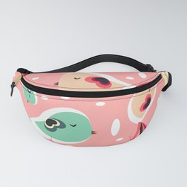Funny birds in pink and blue Fanny Pack