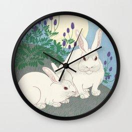Rabbits at full moon, Ohara Koson Wall Clock