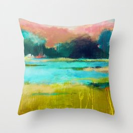 Lime and Turquoise Throw Pillow