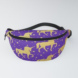 Purple and Gold Unicorn and Stars Pattern Fanny Pack