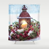 merry christmas Shower Curtains featuring Merry Christmas by UtArt