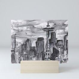 Seattle Skyline Watercolor Space Needle Washington PNW Mini Art Print