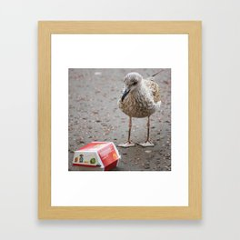 Teenage Seagull with Happy Meal Framed Art Print