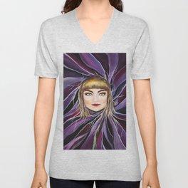 Watercolor Pop Surrealism Chic Artistic Female Portrait Unisex V-Neck