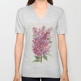 Pink Lilacs Floral Watercolor Garden Flower Nature Art Unisex V-Neck