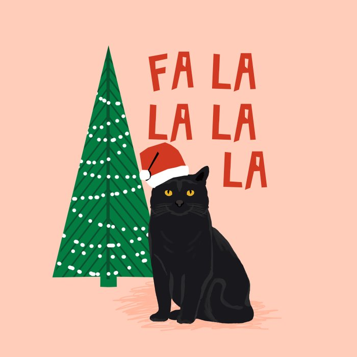 Black Cat cute fa la la christmas xmas tree holiday funny cat art cat lady gift unique pet gifts Comforters