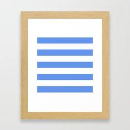 Cornflower blue - solid color - white stripes pattern Framed Art Print