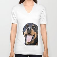 rottweiler V-neck T-shirts featuring Happy rottweiler by StarsColdNight