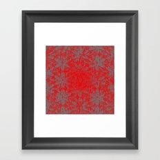 Snowy Red Halftone Flowers Framed Art Print