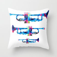 Colorful Trumpet 2 Art By Sharon Cummings Throw Pillow