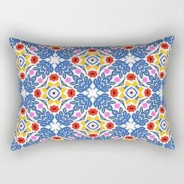 Blue Leaves Scandi Pattern 1 Rectangular Pillow