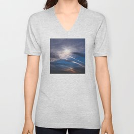 Crossroads in the Cloudy Sunset Unisex V-Neck