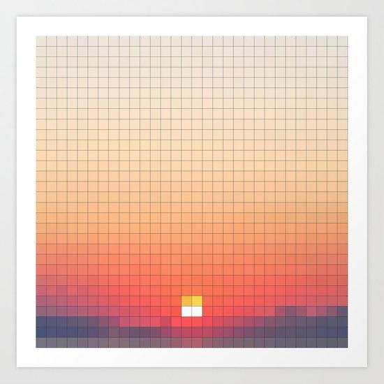 Geometric Sunset Art Print