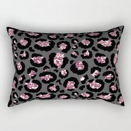 Black & Rose Gold Leopard Print Glitter Rectangular Pillow