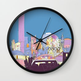 Manchester Skyline Opera House Hilton Hotel Railway City Town Hall England GB UK Wall Clock