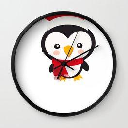 Christmas Penguins Santa Penguin Wall Clock