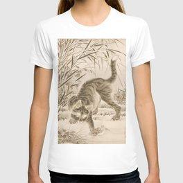 Japanese Cat Catching a Frog, Kawanabe Kyosai  T-shirt