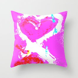 Pink Graffiti Ribbon for Breast Cancer Research by Jeffrey G. Rosenberg Throw Pillow