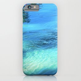 Lake Reflections: Whirlpool in Aqua and Cerulean Blue iPhone Case