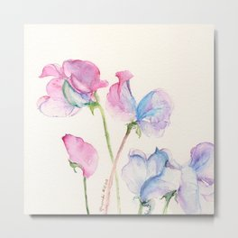 Pink and Purple Sweet Peas Metal Print