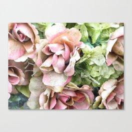 green & blue artificial flowers Canvas Print