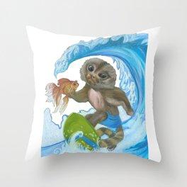 Pygmy Marmoset - Surfer - Superhero Throw Pillow