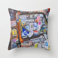 stickers Throw Pillows featuring Stickers by Glenn Designs