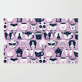 Cuddly Tea Time // white navy & light orchid pink animal mugs Rug