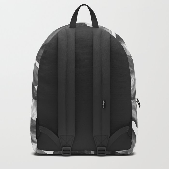 Black And White Tropical Banana Leaves Pattern Backpack