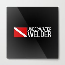 Diver Down Flag: Underwater Welder Metal Print