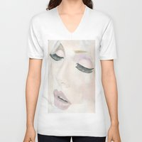 makeup V-neck T-shirts featuring Makeup by Kim Ly