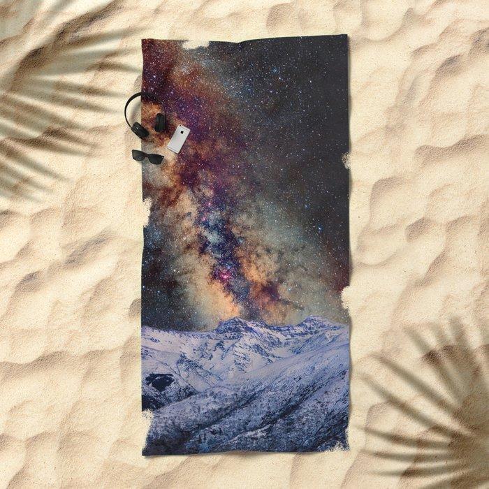 Sagitario, Scorpio and the star Antares over the hight mountains Beach Towel