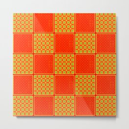 Orange Checks Metal Print