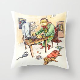 Hero and his Superdog Throw Pillow