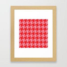 Houndstooth - Pink & Red Framed Art Print