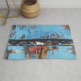Stallion Blue Modern Painting Abstract Art Landscape Rug
