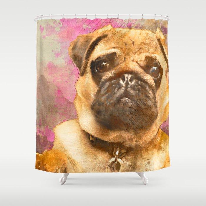 Pug Painting Watercolor Pug Pug Art Pug Print Dog Pug Animal Mixed Media Love Pug Decor Shower Curtain By Joannejgg