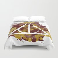 gryffindor Duvet Covers featuring The Deathly Hallows (Gryffindor) by FictionTea